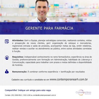 Gerente para Farmácia